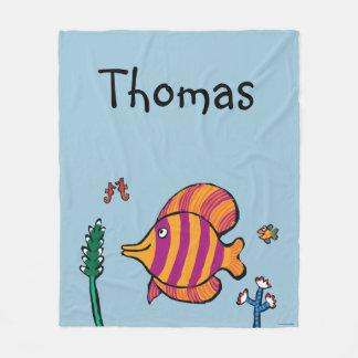Orange and Purple Tropical Fish with Seahorses Fleece Blanket