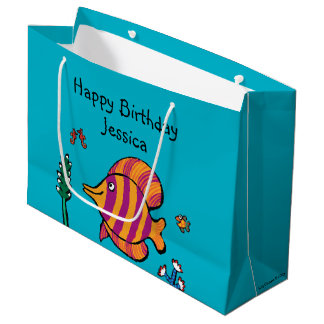 Orange and Purple Tropical Fish with Seahorses Large Gift Bag