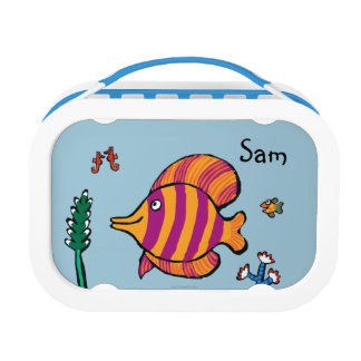 Orange and Purple Tropical Fish with Seahorses Lunch Box