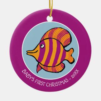 Orange and Purple Tropical Fish with Seahorses Round Ceramic Decoration
