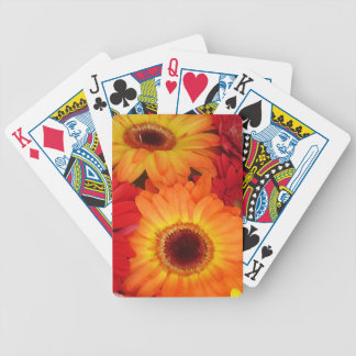 Orange and Red Daisies Bicycle Playing Cards