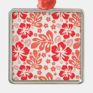 Orange and red hibiscus pattern - Hawaii! Christmas Ornament