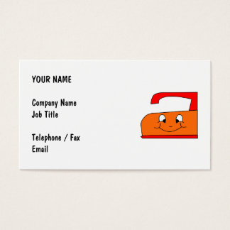 Orange and Red Iron Cartoon. On White. Business Card