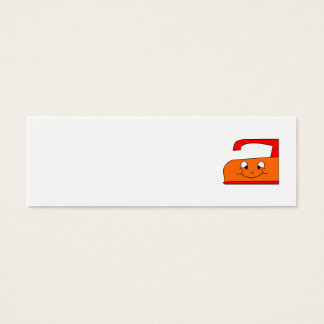 Orange and Red Iron Cartoon. On White. Mini Business Card
