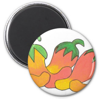 Orange and Red Peppers 6 Cm Round Magnet