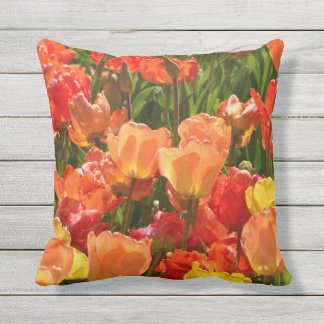 orange and red tulips outdoor throwpillow