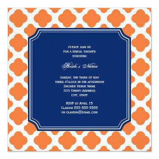 Orange and Royal Blue Quatrefoil Bridal Shower Card