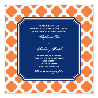 Orange and Royal Blue Quatrefoil Wedding 13 Cm X 13 Cm Square Invitation Card