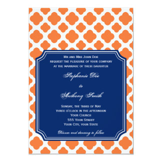 Orange and Royal Blue Quatrefoil Wedding 13 Cm X 18 Cm Invitation Card