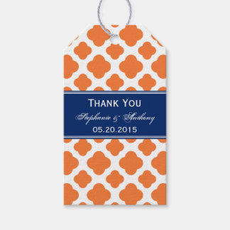 Orange and Royal Blue Quatrefoil Wedding Gift Tags