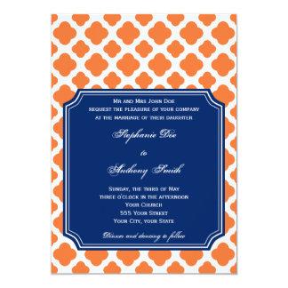 "Orange and Royal Blue Quatrefoil Wedding 5"" X 7"" Invitation Card"