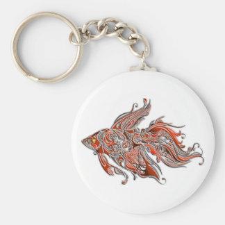 Orange and Rust Swirly Fantail Goldfish Key Ring