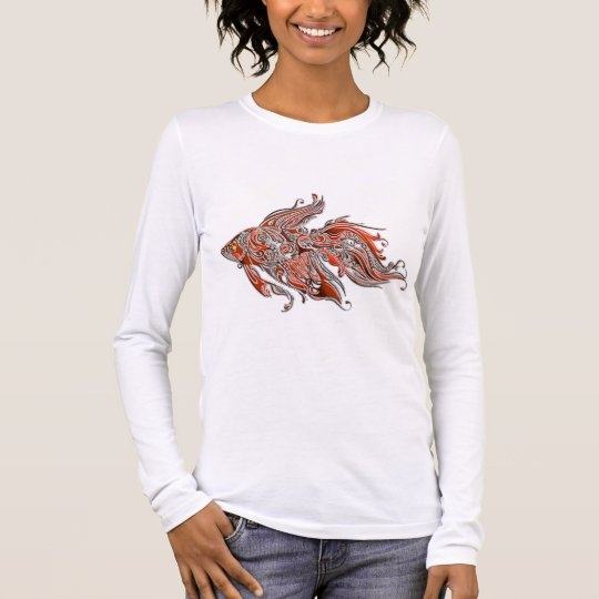Orange and Rust Swirly Fantail Goldfish Long Sleeve T-Shirt