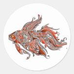 Orange and Rust Swirly Fantail Goldfish Round Sticker