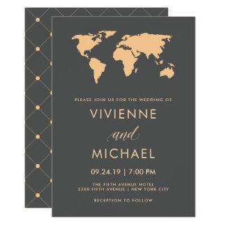 Orange and Smoky Gray World Map Wedding Card