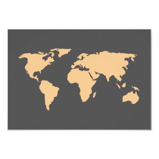 Orange and Smoky Gray | World Map Wedding RSVP Card