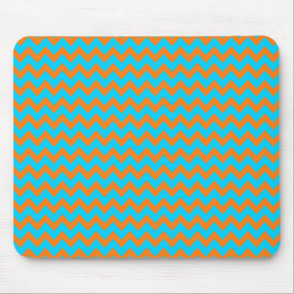 Orange and Teal Blue Chevron Pattern Mouse Pad