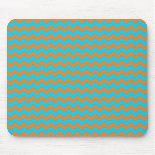 Orange and Teal Blue Chevron Pattern Mousepads