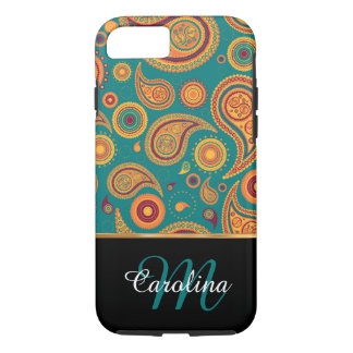 Orange and Teal Paisley,  Name and Monogram iPhone 8/7 Case
