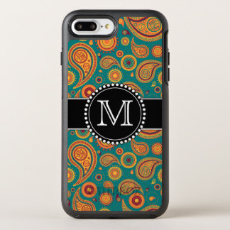 Orange and Teal Paisley Pattern, Monogrammed OtterBox Symmetry iPhone 8 Plus/7 Plus Case