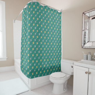 Orange and Teal Polka Dotted Shower Curtain