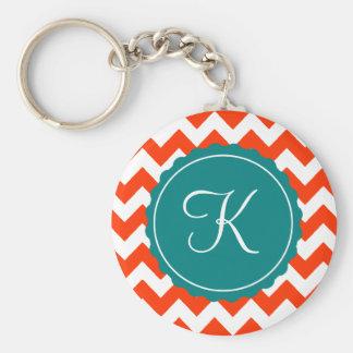Orange and Teal Zig Zag Custom Initial Key Ring