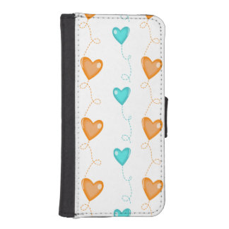 Orange and Turquoise Heart Balloons iPhone 5 Wallet Case