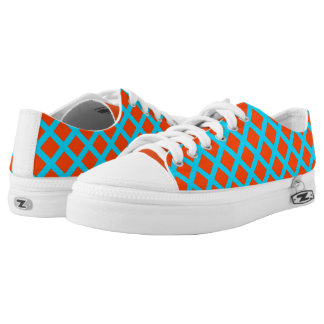 Orange and Turquoise Squares Pattern Printed Shoes