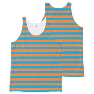 Orange and Turquoise Stripes All-Over Print Tank Top