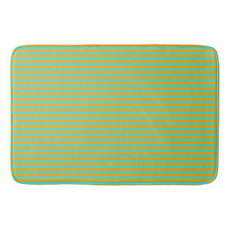 Orange and Turquoise Traditional Striped Pattern Bath Mat