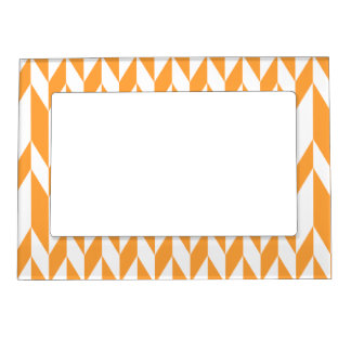 Orange and White Abstract Graphic Pattern. Magnetic Frame