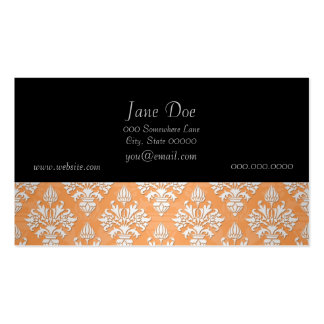 Orange and White Artichoke Damask Floral Pattern Pack Of Standard Business Cards