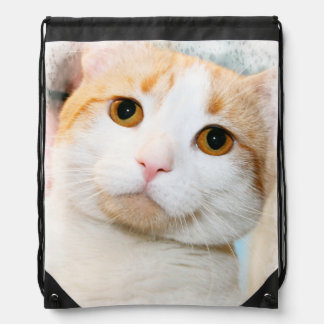 ORANGE AND WHITE CAT DRAWSTRING BACKPACK
