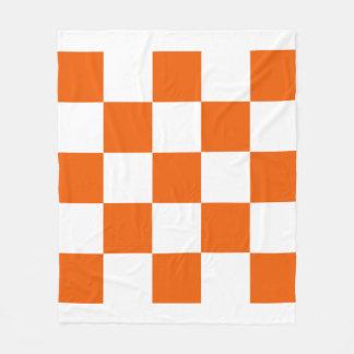 Orange and White Checkered Fleece Blanket