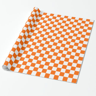 Orange and White Checkered Squares Wrapping Paper
