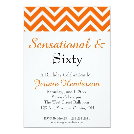 Orange and White Chevron Birthday Invitation