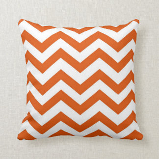 Orange and White Chevron Cushion
