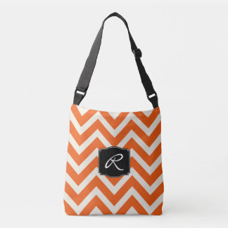 Orange and White Chevron Pattern with Monogram Crossbody Bag