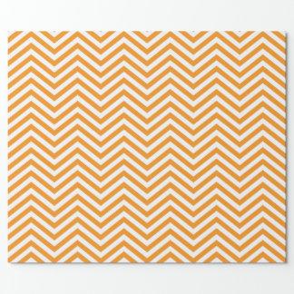 Orange and White Chevron Wrapping Paper