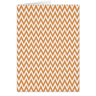 Orange and White Chevron Zig Zag Stripes Pattern Greeting Card