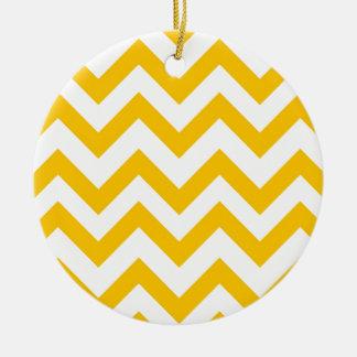 Orange And White Chevrons Christmas Ornament