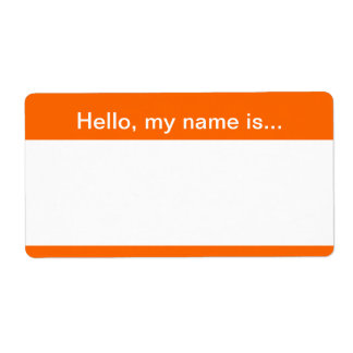 Orange and White Corporate Name Tag - Avery Label Shipping Label