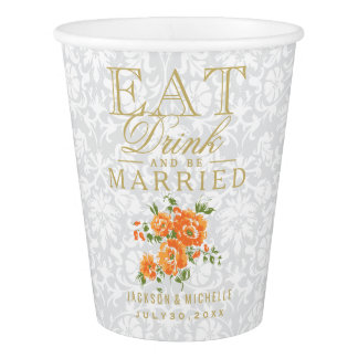Orange and White Eat, Drink and be Married-Wedding