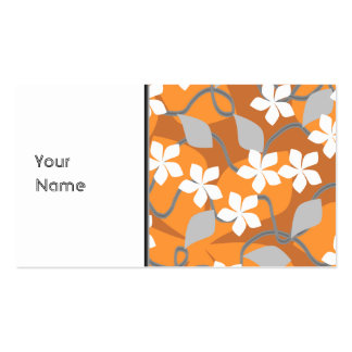 Orange and White Flowers. Floral Pattern. Pack Of Standard Business Cards