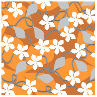Orange and White Flowers. Floral Pattern. Photo Sculpture Key Ring
