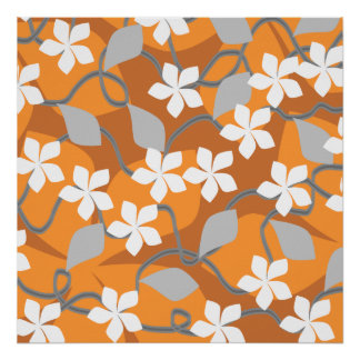 Orange and White Flowers. Floral Pattern. Poster