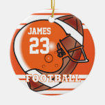 Orange and White Football Round Ceramic Decoration