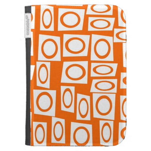 Orange and White Fun Circle Square Pattern Kindle 3 Covers
