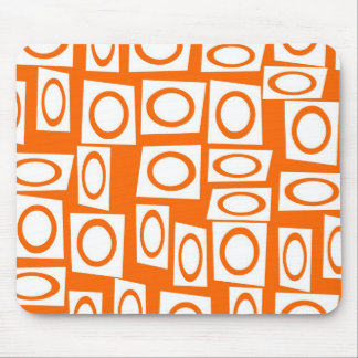 Orange and White Fun Circle Square Pattern Mouse Pad