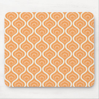 Orange and White Geometric Retro Mouse Mat